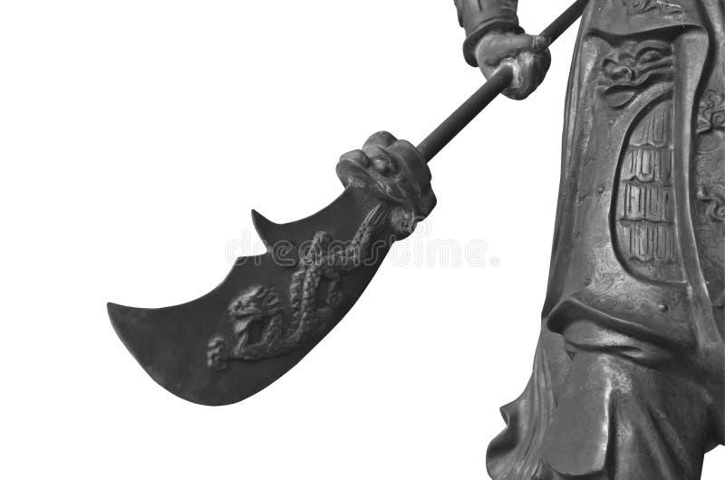 Czarny i biały wizerunek miedzianej wojownik rzeźby Chiński styl ilustracja wektor