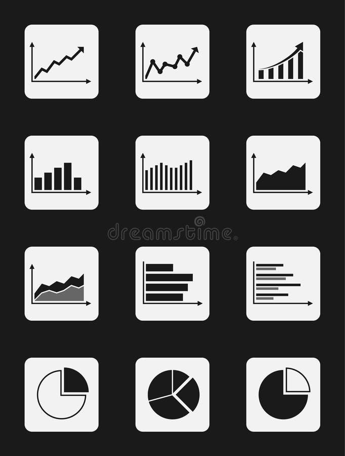 Czarny i biały wykresu o temacie ikony ustawiać ilustracja wektor