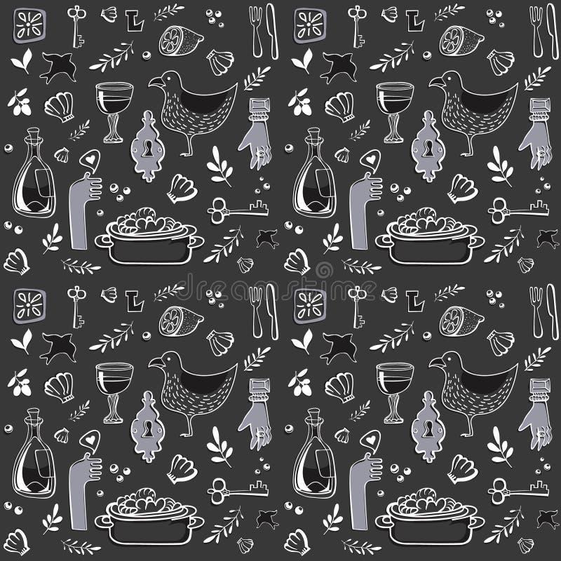 Czarny i biały wzór z Portugalia morza rzeczami ilustracji