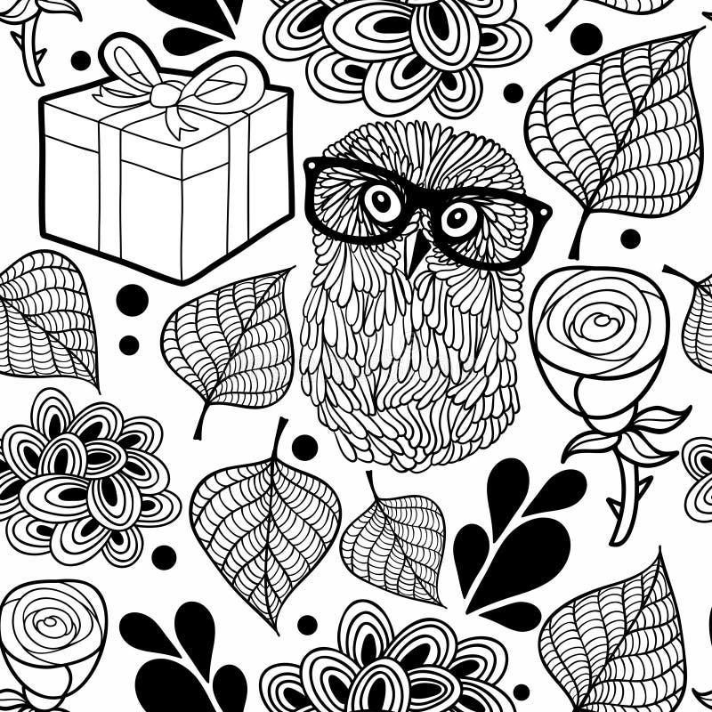 Czarny i biały wzór z sową i prezentami royalty ilustracja