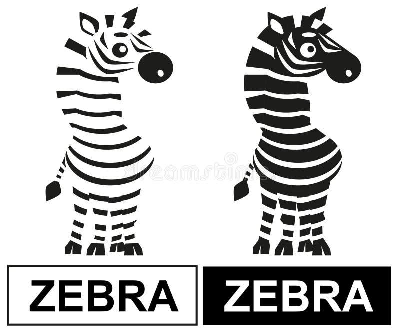 Czarny i biały zebra ilustracji