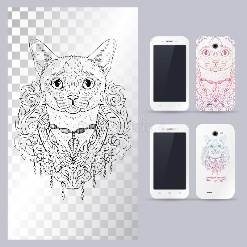 Czarny i biały zwierzęca kot głowa, boho styl Wektorowa ilustracja dla telefon skrzynki ilustracja wektor