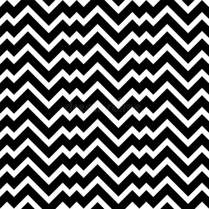 Czarny i biały zygzakowatego szewronu minimalny prosty bezszwowy wzór ilustracja wektor