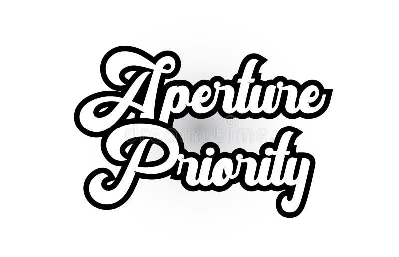 czarny i bia?y apertura priorytetu r?ki pisa? s?owa tekst dla typografia logo ikony projekta royalty ilustracja