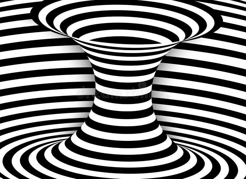 Czarny i bia?y linii okulistyczny z?udzenie Abstrakt paskuj?cy ?limakowaty wektorowy t?o ilustracja wektor