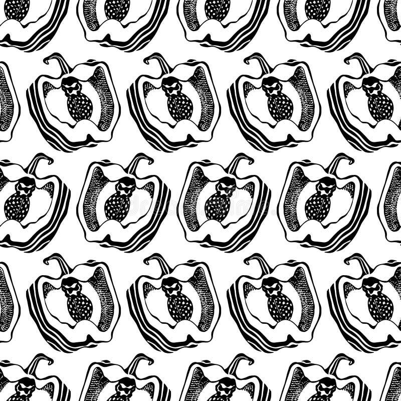 czarny i bia?y pieprz Kuchni deseniowa bezszwowa wektorowa tekstura grafit ilustracji