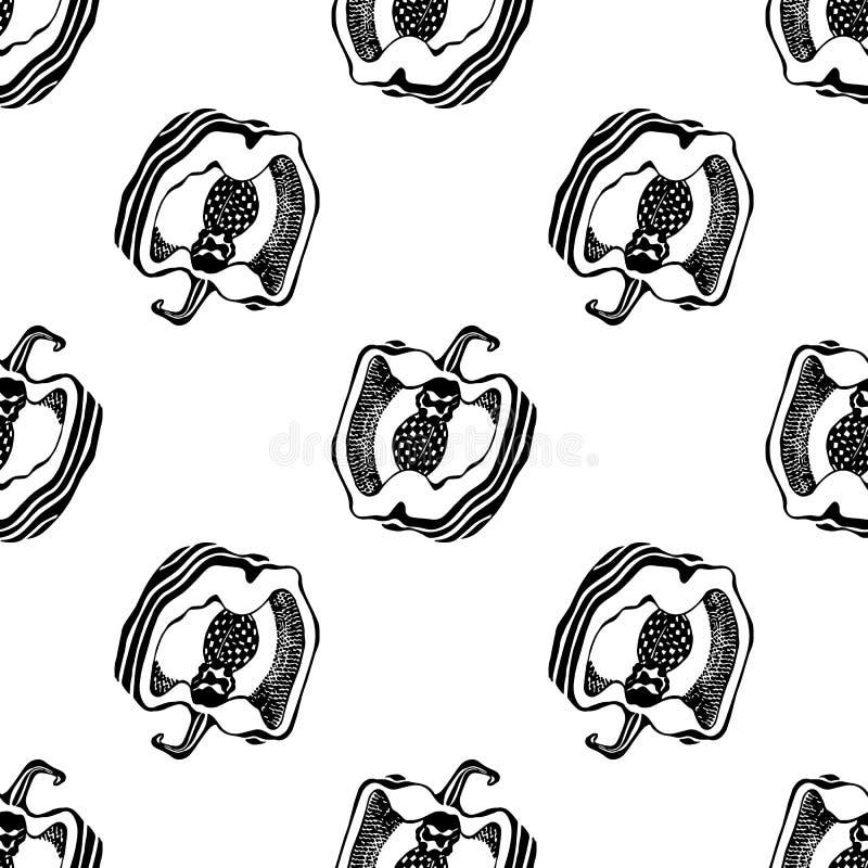 czarny i bia?y pieprz Kuchni deseniowa bezszwowa wektorowa tekstura grafit royalty ilustracja