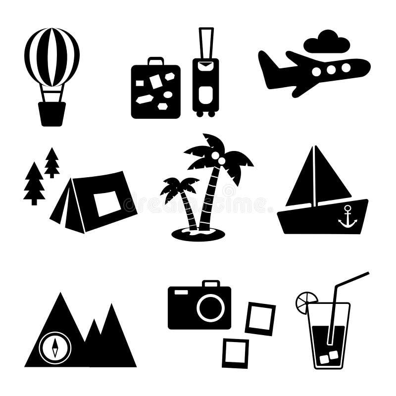 Czarny i bia?y sylwetka Podróży, odtwarzania i wakacje wektorowi obrazki ustawiający, Turystyka typ wektor royalty ilustracja