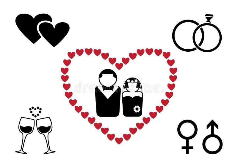 Czarny i czerwony ślubu set wektor ilustracja wektor