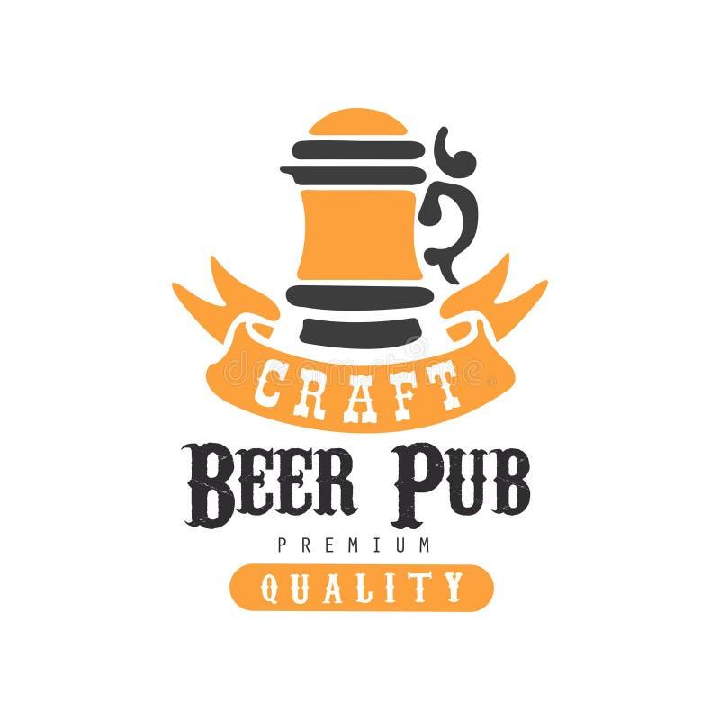 Czarny i pomarańczowy logo dla Emblemat z abstrakcjonistycznym kubkiem rzemiosła piwo napojów alkoholowych Kreatywnie wektorowy p ilustracji