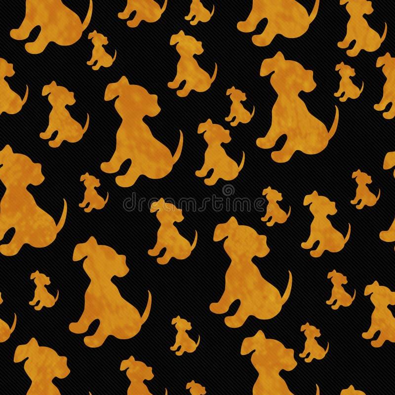 Czarny i Pomarańczowy szczeniaka psa płytki wzoru powtórki tło royalty ilustracja