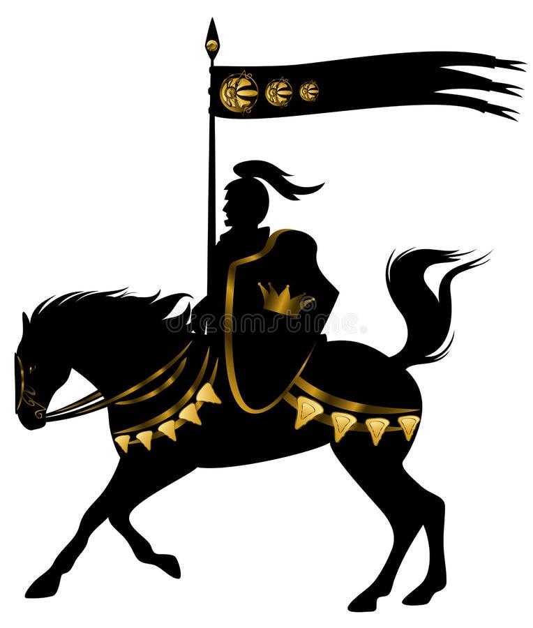 Czarny i złocisty rycerz royalty ilustracja