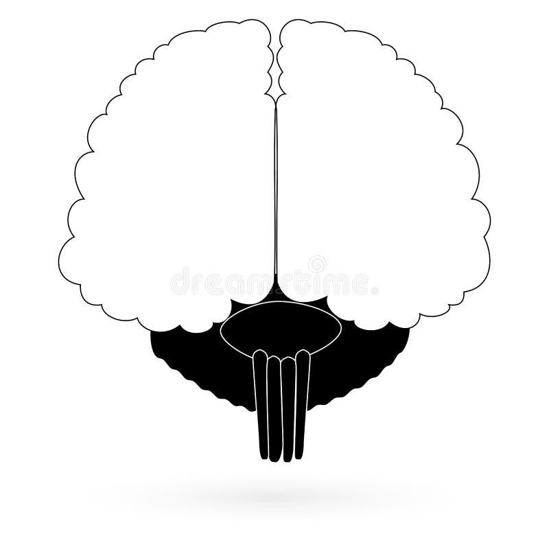 Czarny ikona mózg wektor ilustracja wektor