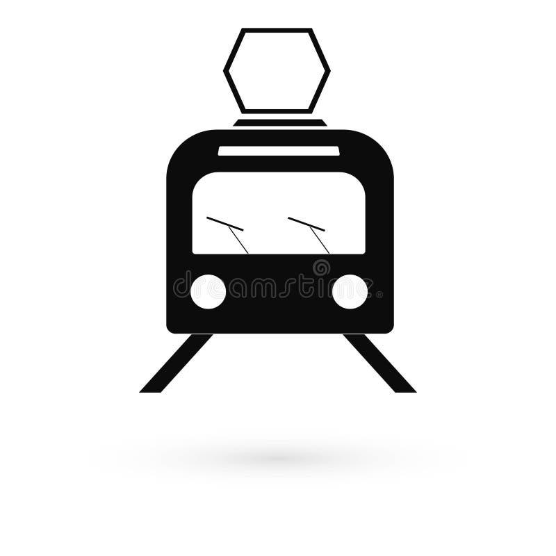 Czarny ikona tramwaj raster royalty ilustracja