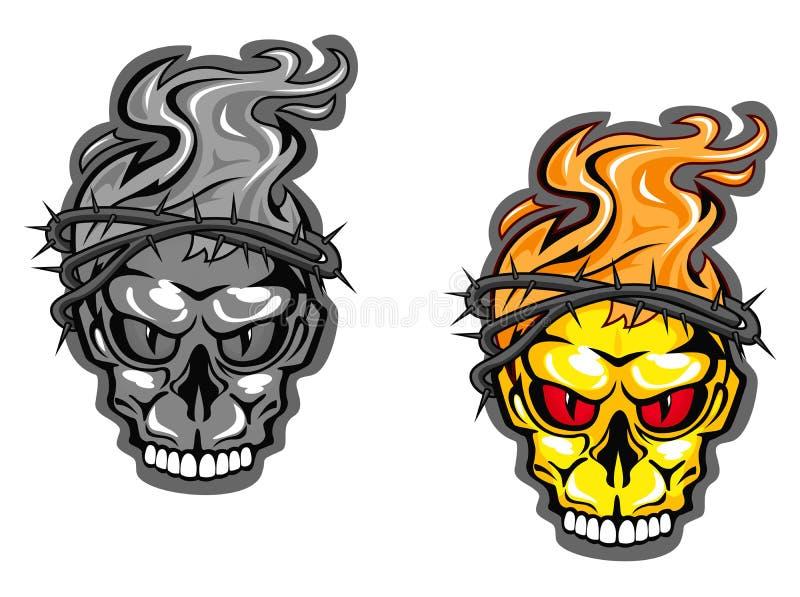czarny ilustracje ustawiający czaszki tatuaży wektoru biel ilustracja wektor