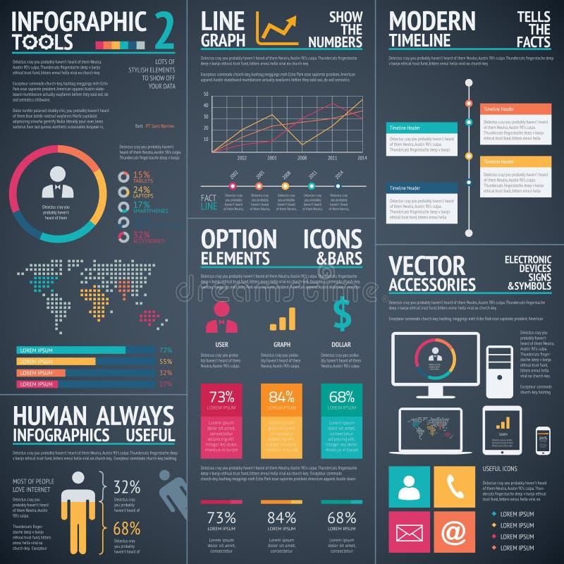 Czarny infographic wektorowy szablonów elementów dane unaocznienie ilustracja wektor