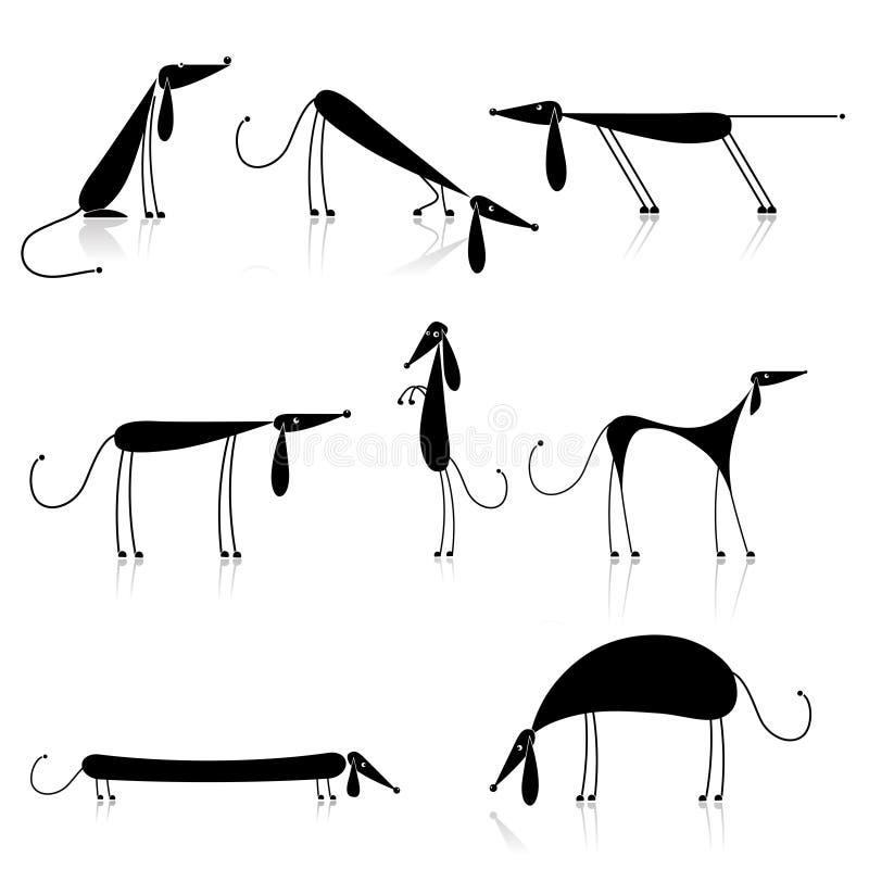 czarny inkasowych psów śmieszna sylwetka ilustracja wektor