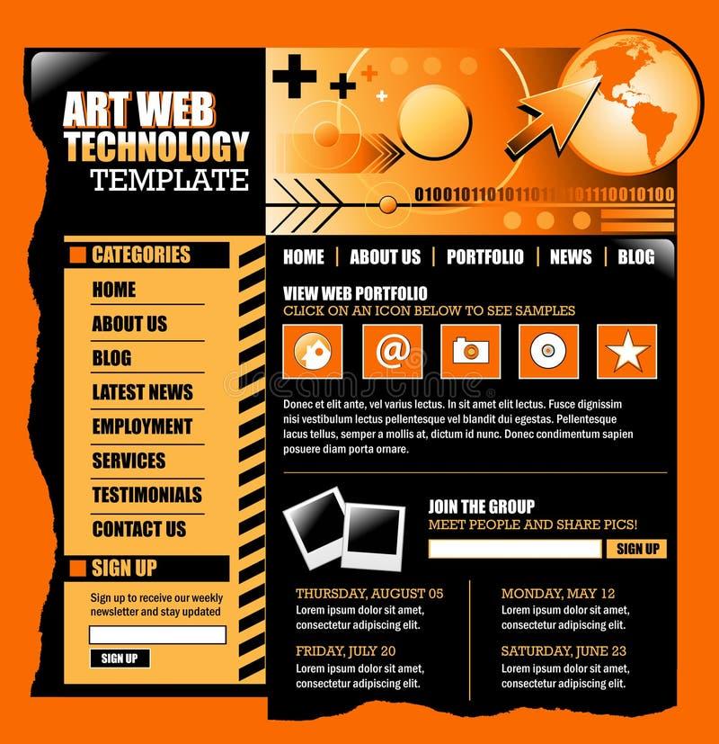 czarny internetów pomarańczowa szablonu strona internetowa royalty ilustracja
