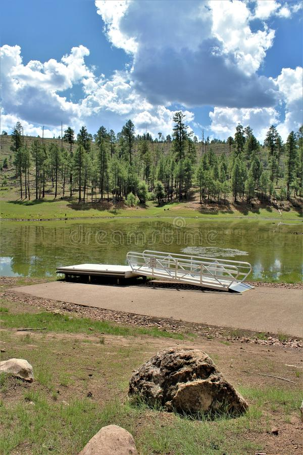 Czarny Jar jezioro, Navajo okręg administracyjny, Arizona, Stany Zjednoczone, Apache Sitegreaves las państwowy obrazy royalty free