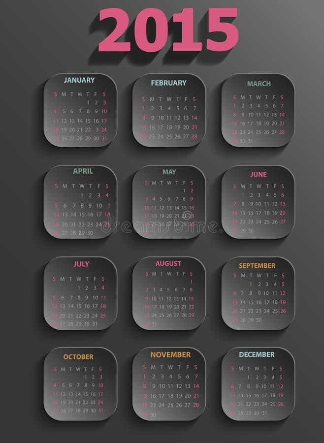 Czarny kalendarz 2015 royalty ilustracja