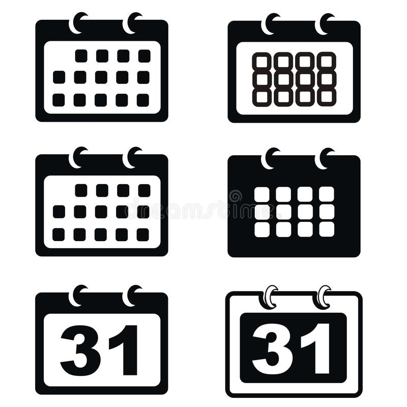 Czarny kalendarzowy ikona set royalty ilustracja
