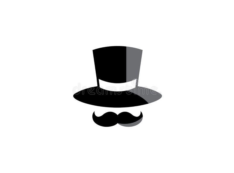 Czarny kapelusz i duży wąsy dla logo projektujemy ilustrację ilustracji