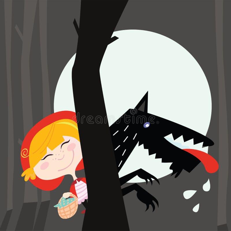 czarny kapiszonu czerwony jeździecki wilk ilustracja wektor