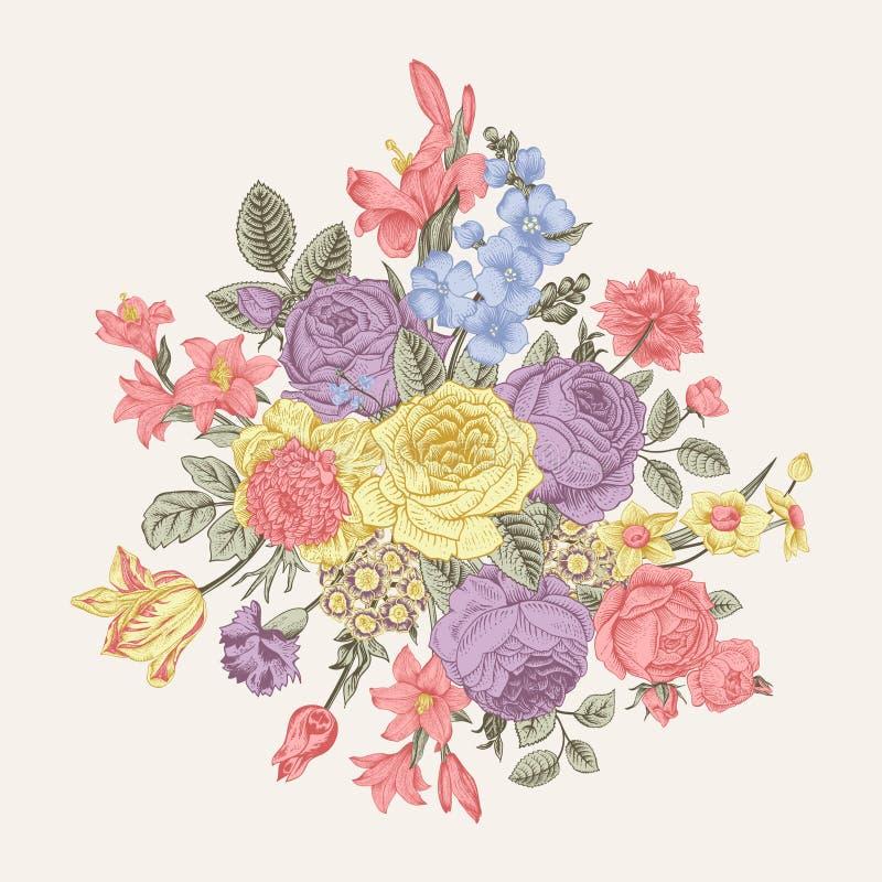 czarny karta barwił kwiecistego kwiatu irysa biel Bukiet róże, leluja i anemon, ilustracja wektor