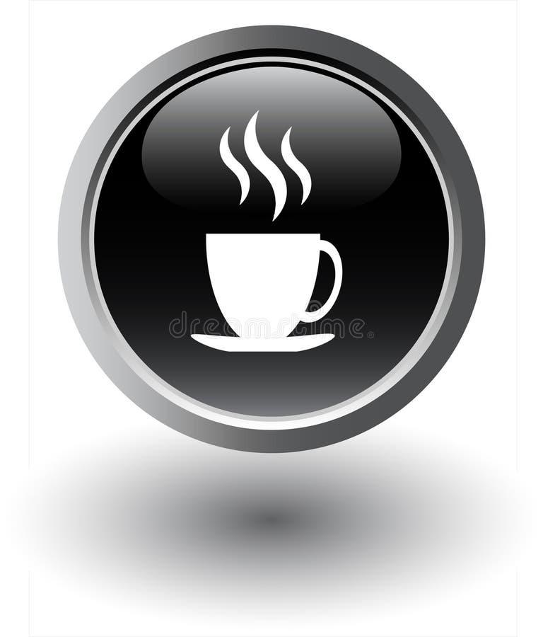 czarny kawy ikony herbata royalty ilustracja