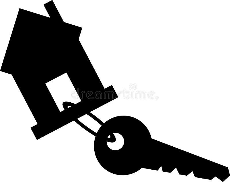 Czarny keychain dom z kluczem pojedynczy białe tło royalty ilustracja