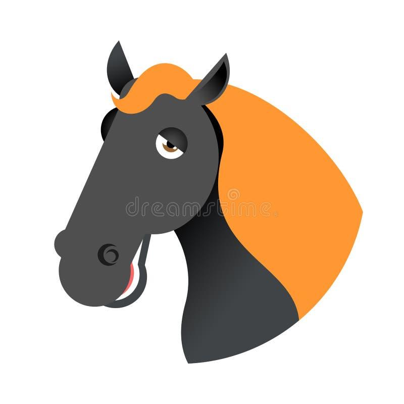 czarny kierowniczy koń Kaganów hossa odizolowywający na białym tle ilustracji