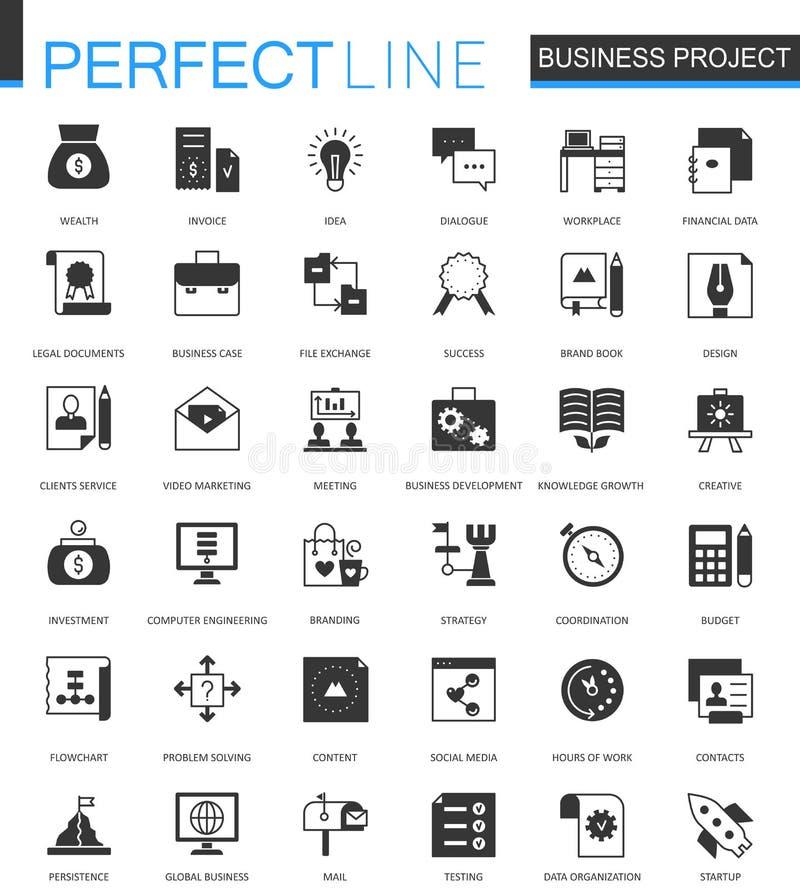 Czarny klasyczny korporacyjnego biznesu projekt Finansowe partnerstwo pracy zespołowej sieci ikony ustawiać royalty ilustracja
