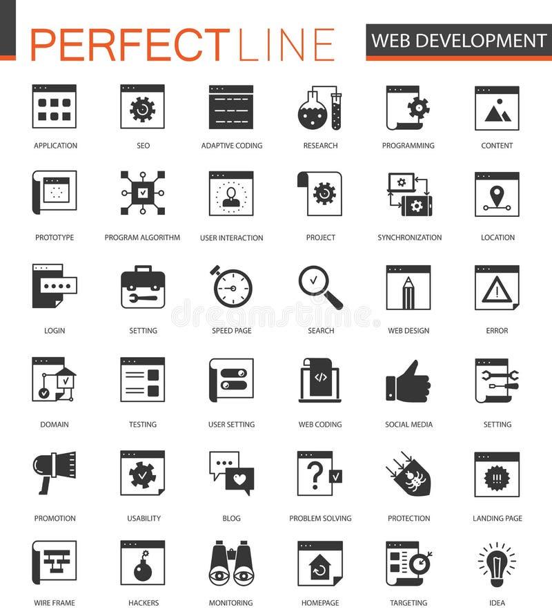 Czarny klasyk SEO i rozwój ikony ustawiać ilustracja wektor