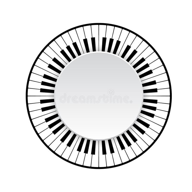 czarny klawiaturowych kluczy na pianinie rządu biały drewna ilustracja wektor