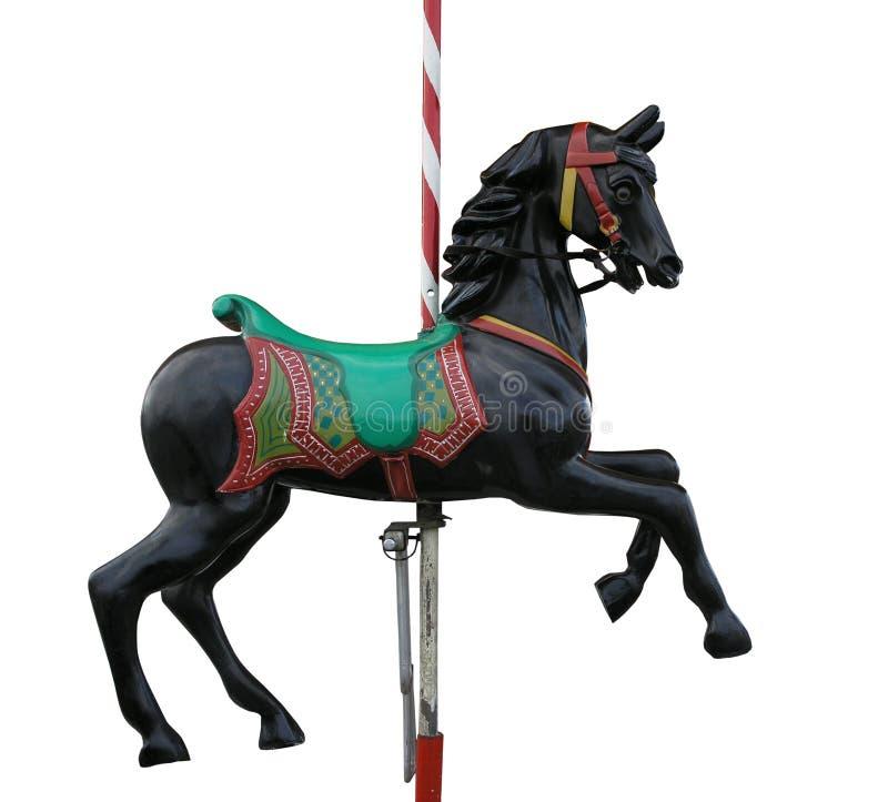 czarny koń będzie wesoło kolejkę zdjęcie royalty free