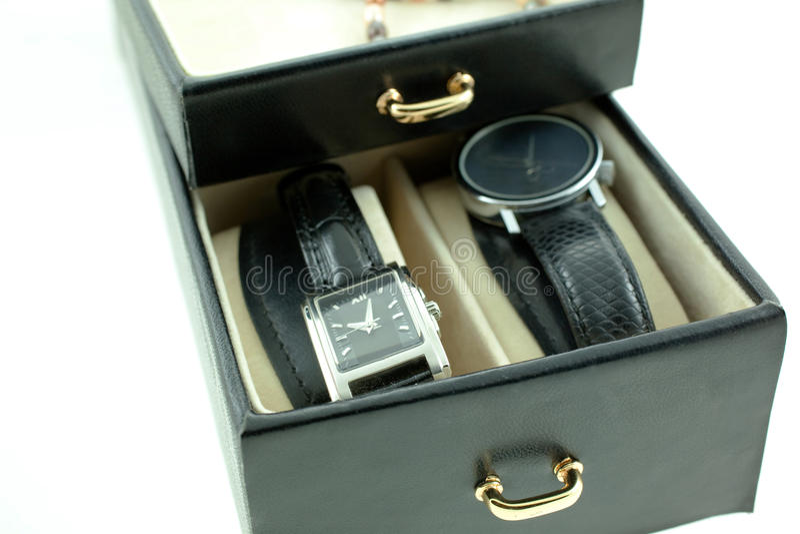 czarny kobiety srebra zegarki obraz stock