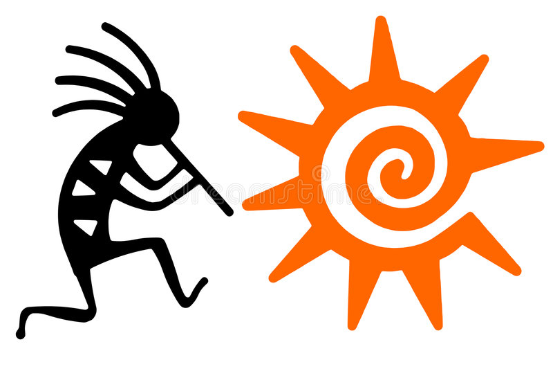 czarny kokopelli pomarańcze słońce royalty ilustracja