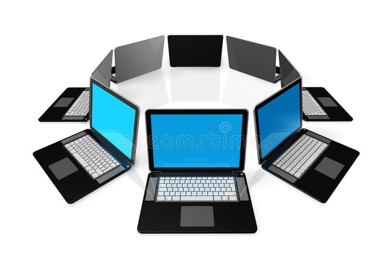 czarny komputerów odosobniony laptopu biel royalty ilustracja
