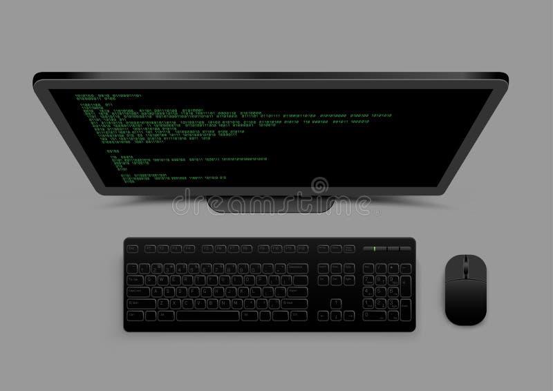 Czarny komputer od above royalty ilustracja
