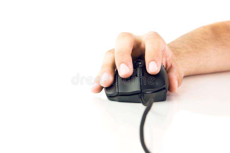 czarny komputerowa ręki mienia mysz fotografia stock