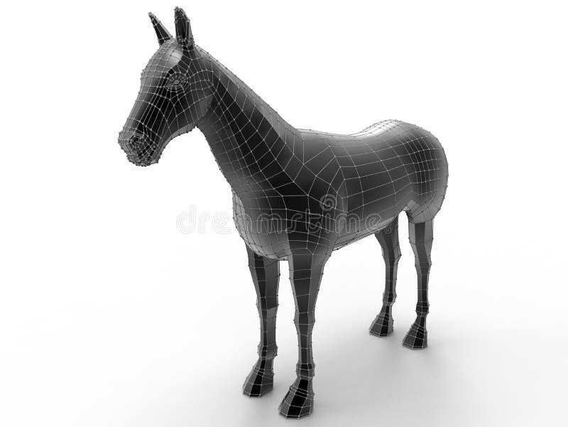 Czarny konia 3D model royalty ilustracja