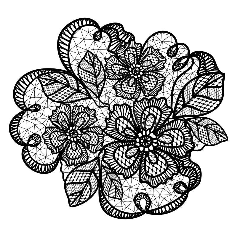 Czarny koronka wzór z kwiatami ilustracja wektor