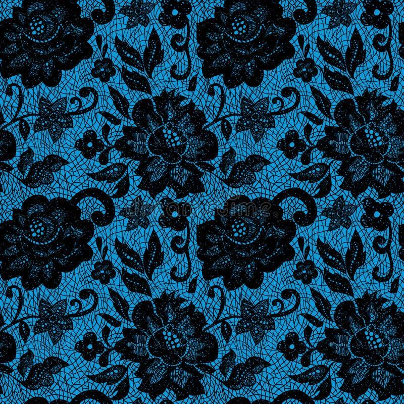 Czarny koronkowy kwiat na błękicie ilustracji
