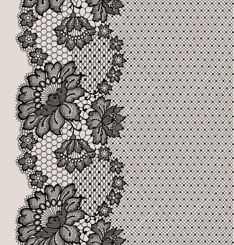 Czarny Koronkowy Tasiemkowy Bezszwowy wzór ilustracja wektor