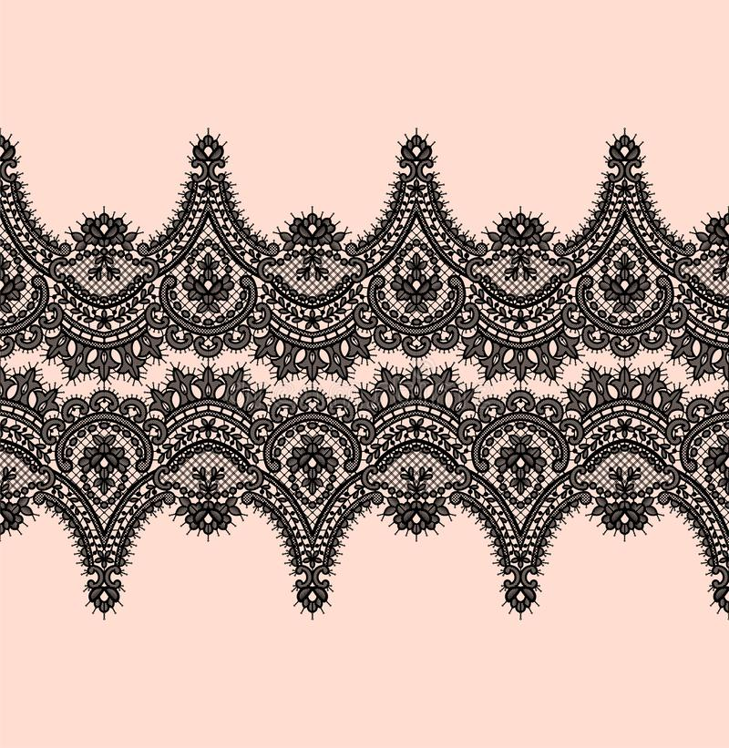 Czarny Koronkowy wektoru wzór ilustracja wektor