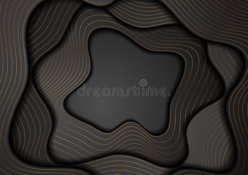 Czarny korporacyjny falisty tło z brązowymi liniami ilustracja wektor