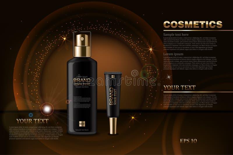 Czarny kosmetyk butelek wektor realistyczny Produkt pakuje egzamin próbnego up Złoty błyszczący tła bokeh skutek 3d szczegółowy i ilustracji