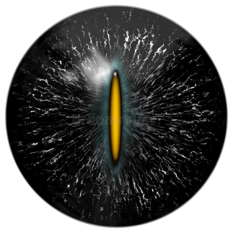 Czarny kot, gad lub obcy oko z wąskim żółtym uczniem, royalty ilustracja