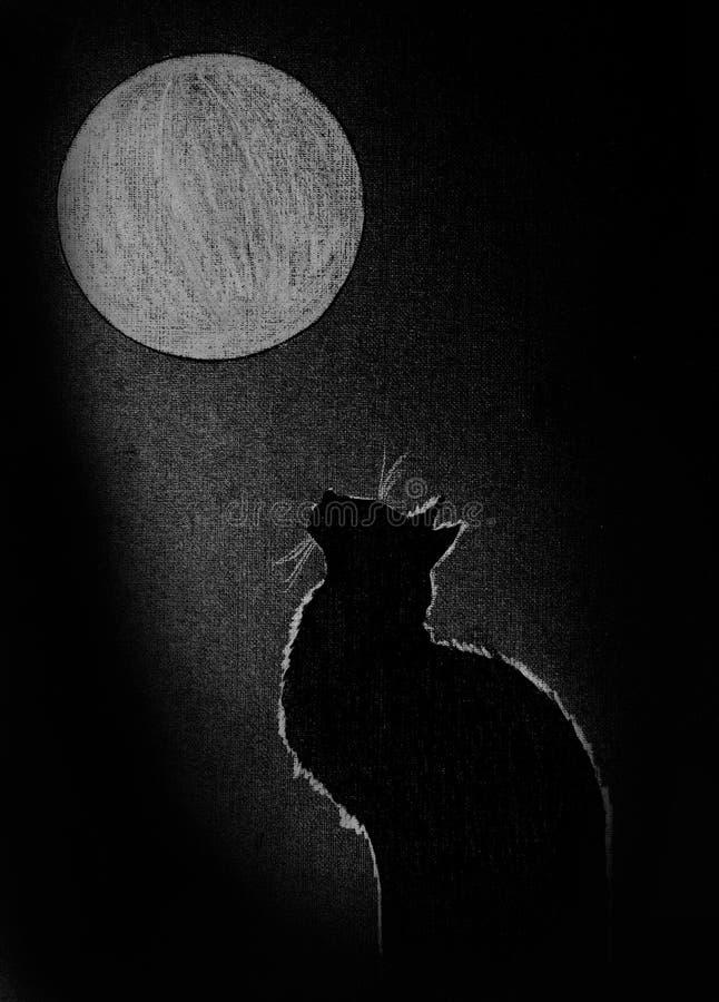 Czarny kot i księżyc round ilustracja wektor