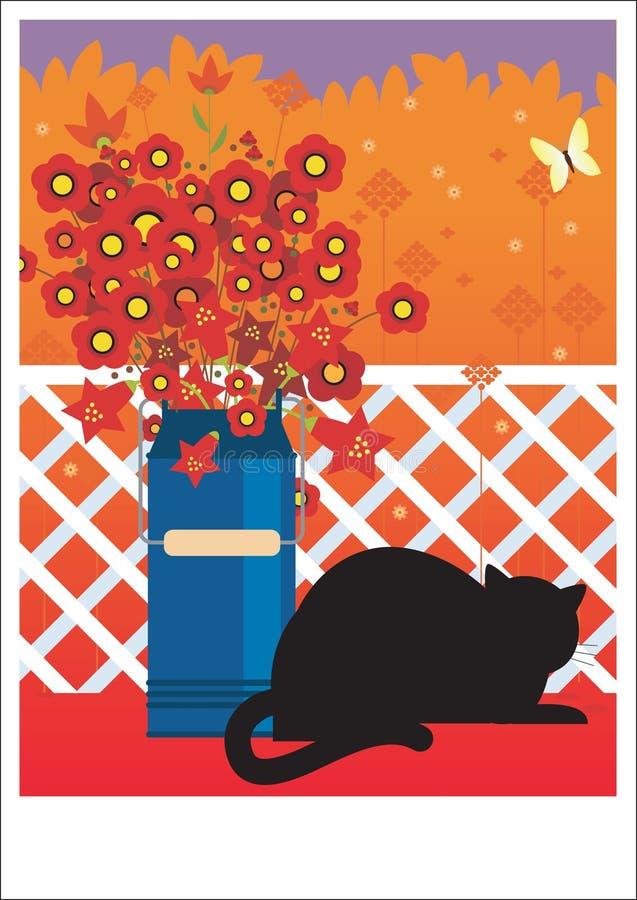Czarny kot na balkonie ilustracji